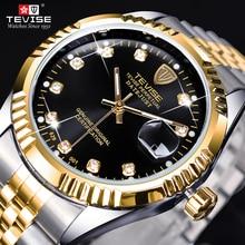TEVISE Luxury Brand Diamond Gold Black Fashion Watch Stainle