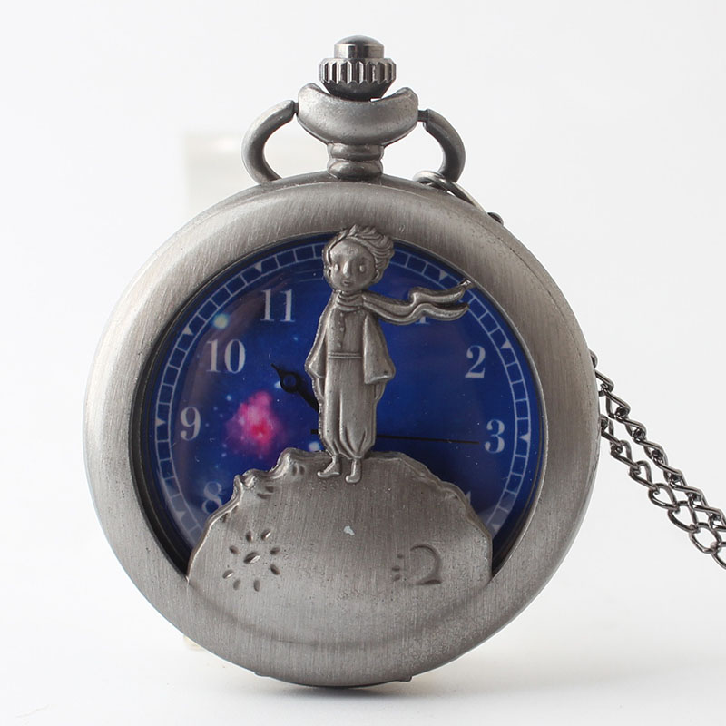 Pocket & Fob Watch Bronze The little Prince Pocket Watch With Chain Vintage Unique Watches Necklace Pendent Fob Quartz Clock