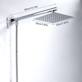 Wall Mounted Rainfall Shower Head Set Chrome 8 Ultrathin Shower Head + Stainless Steel Shower Arm + Srainless Steel Shower Hose