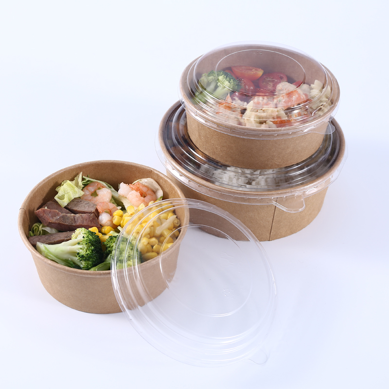50pcs/pack Big Size Disposable Paper Bowl Fruit Salad Fast Food Package Takeaway Food Storage Package With Plastic Lid