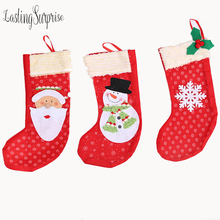 1pc Christmas Stocking Santa Claus Sock Gift Holder Tree Decoration New Year Candy Bags Xmas Hanging Decora