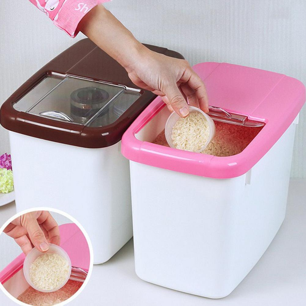 10kg Rice Storage Box Plastic Storage Cases Kitchen Food Storage Container Grain Cereal Dispenser Storage Organizer Kitchen Tool