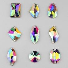 All shape sew on rhinestone sewing crystal AB flatback glass Button holes rivoli Oval heart ab color for wedding dress