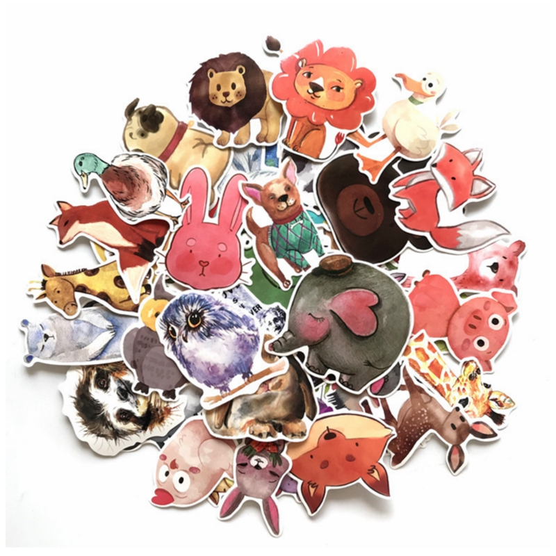 50PCS Cute Animals Stickers Watercolor Cartoon Educational Toys For Kids Decals Sticker To DIY Laptop Suitcase Fridge Skateboard