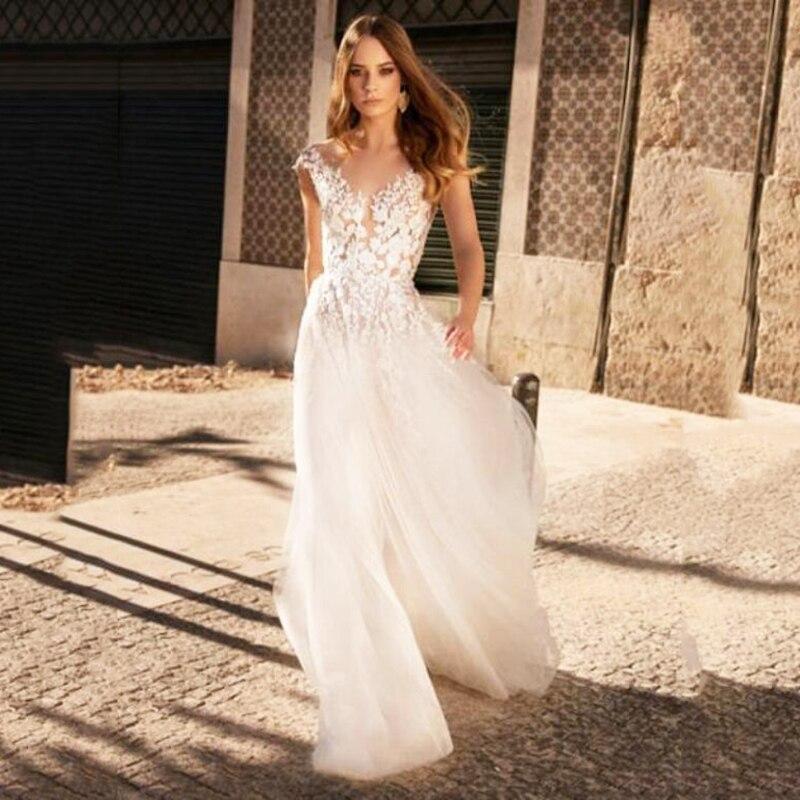 Sexy V-neck A Line Lace Appliques Wedding Dresses Backless Tulle Wedding Gowns Formal Bride Dress Boho 2020 Vestidos De Novia