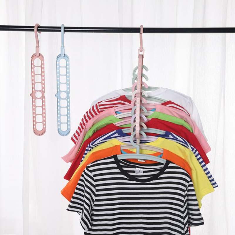 Nine-hole Rotating  Hanger Storage Rack Clothes Rack Drying Rack Closet Organizer Wardrobe Hook Household Accessories