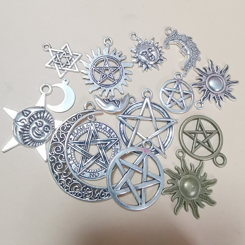 Moon Sun Pentagram Star Wicca Pendants Charms for Jewelry Making Necklace Bracelet Earrings Keychain Diy Witchcraft Accessories