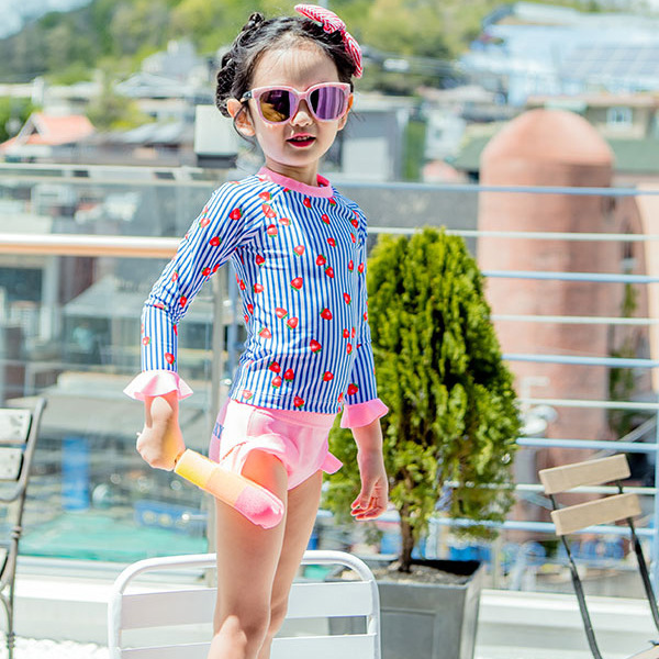 New Style One-piece Swimming Suit GIRL'S Sun Blocking Large Children South Korea KID'S Swimwear Girls Students Quick-Dry Boxer S