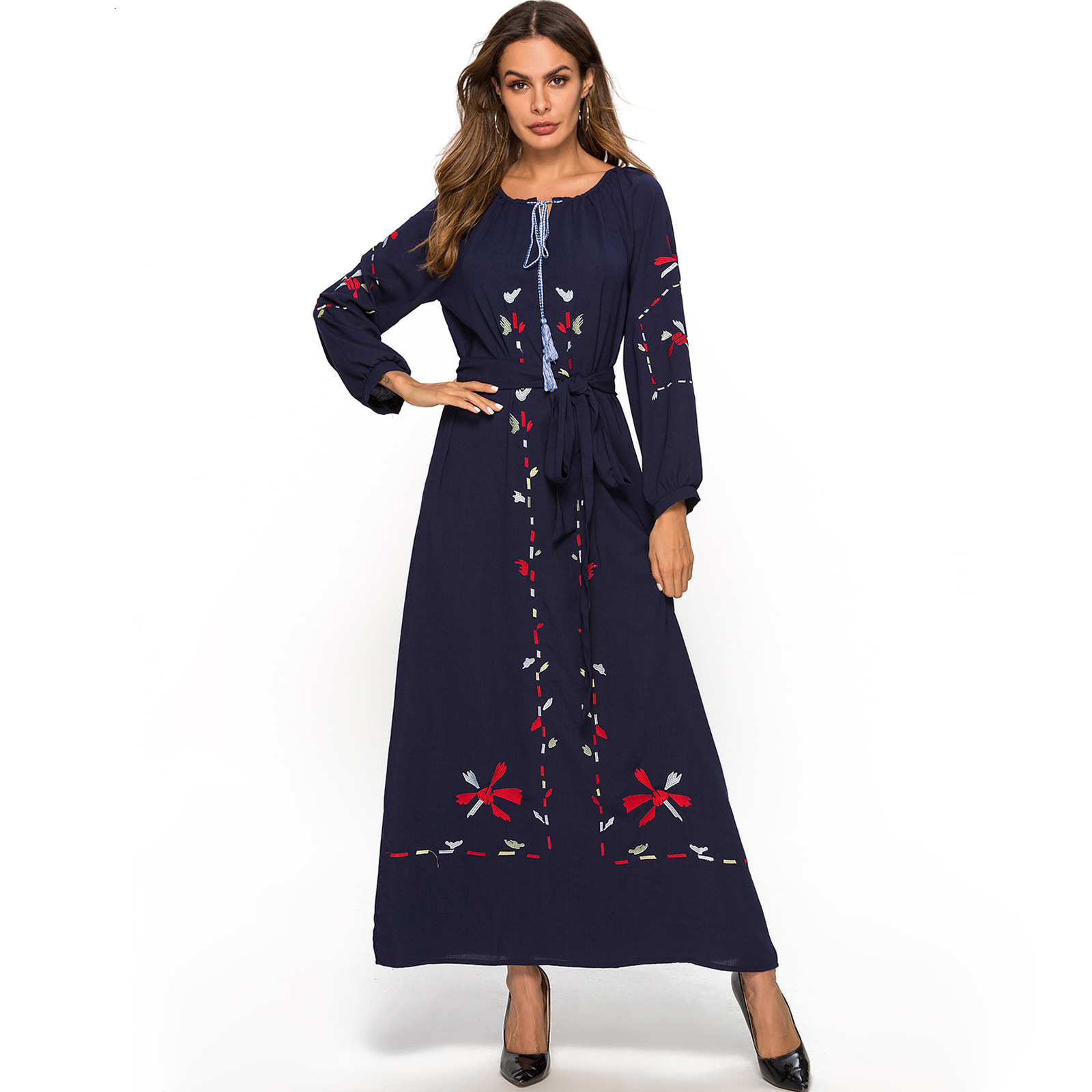 Will Code costume-Robe costume-Robe musulmane arabe Robe broderie Code automne Robe noire femmes dames robes
