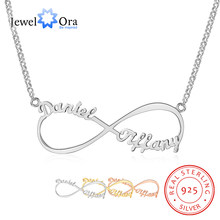 Customize Name Necklace Infinity Endless Love 925 Sterling Silver Necklaces & Pendants Birthday Gifts for Her(JewelOra NE101367)(China)