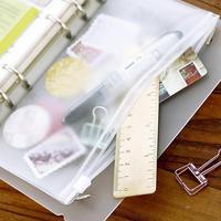 Estojo de zíper de pvc a5 a6 a7  bolsa para cartões de casa e escritório  armazenamento de folhas soltas  bolsos  régua de caneta coleção de coleções