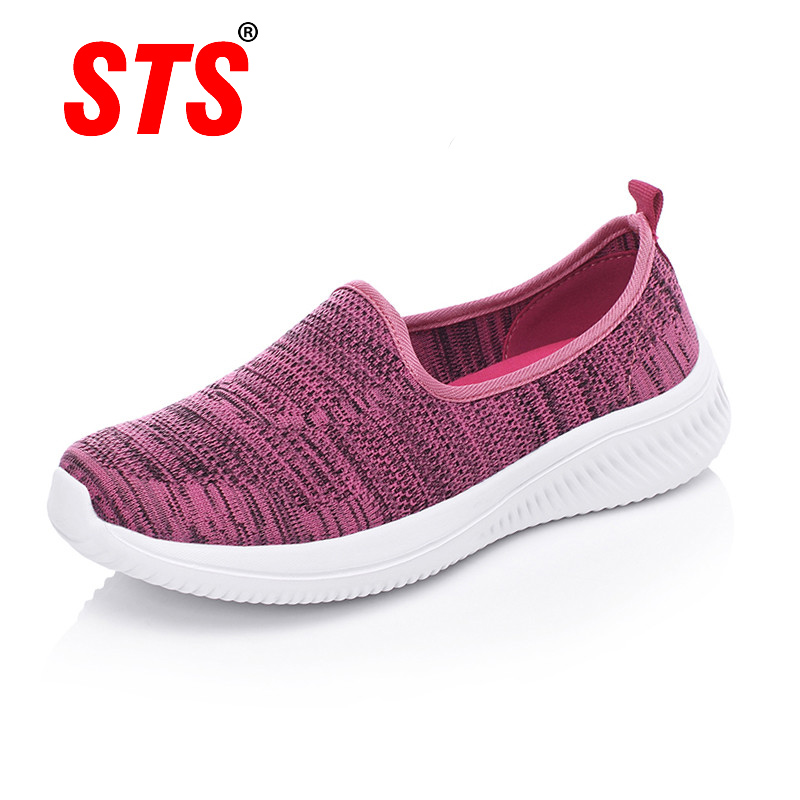 STS Women's Casual Shoes Breathable Light Mesh Sock Sneakers Women Slip On Flat Shoes Ladies Loafers Walking Footwear Outdoor