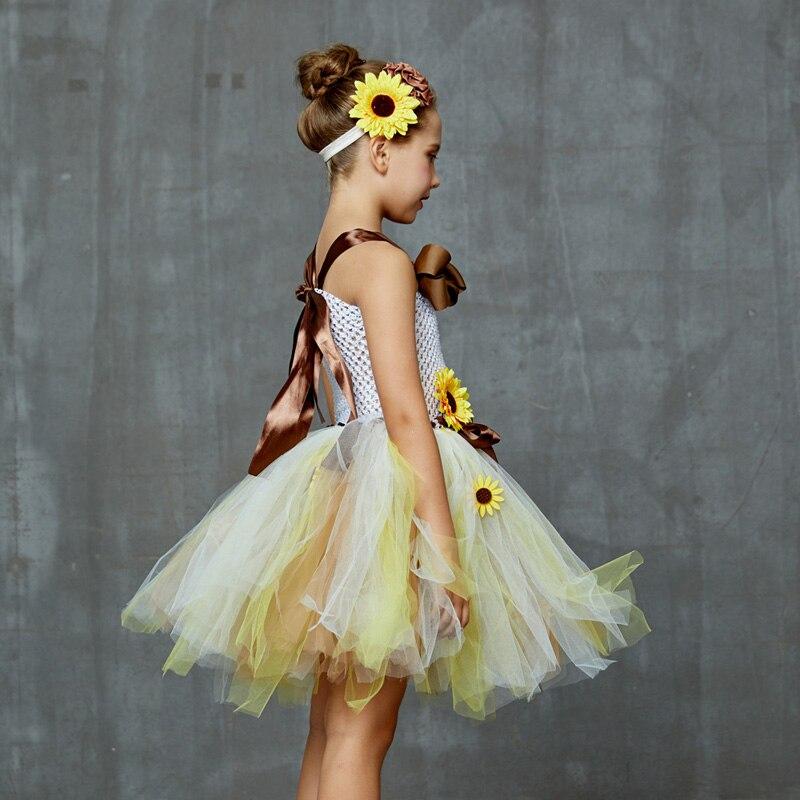 Sweet Sunshine Sunflower Tutu Dress with Matching Headband Flower Girl Bridal Birthday Pageant Costume Kids Autumn Dresses (9)