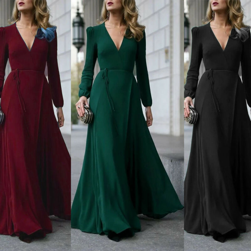 New Fashion Women Deep V Neck High Slit Maxi Long Dress Long Sleeve Solid Prom Gown Evening Party S-XL Black Green Red