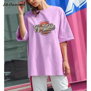 Camiseta feminina meia manga, harajuku lazer simples chique hip hop streetwear longa solta namorado feminino
