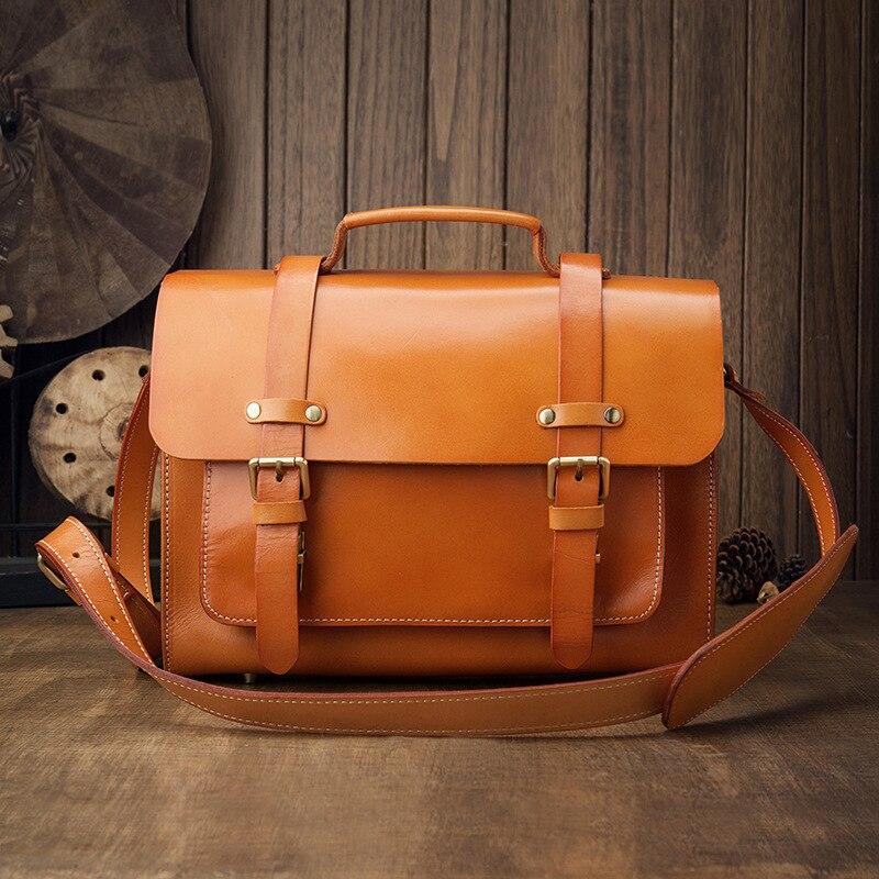 Handmade Original Men's Leather Single-Shoulder Bag Skeleton-Skin Casual Crossbody Bag Vintage Leather Bag