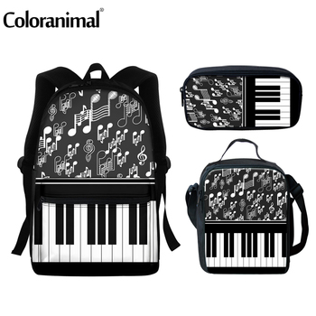 Coloranimal Brand High Quatily School Backpacks For Teenager Cool Piano Music Notes Custom Satchel Student 3pcs/set Scool Bags цена 2017