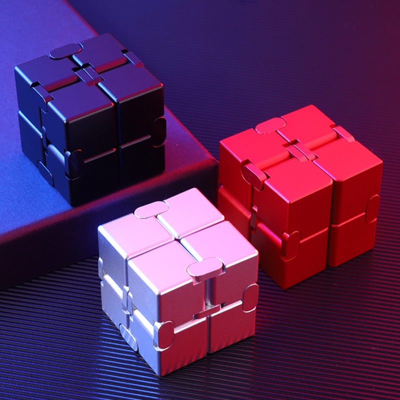 High Quality Inifinity Cube Flip Unlimited Aluminum Alloy Magical Cubes Flip Pocket Squares Anxiety Relief Toy Fidgeting Cube
