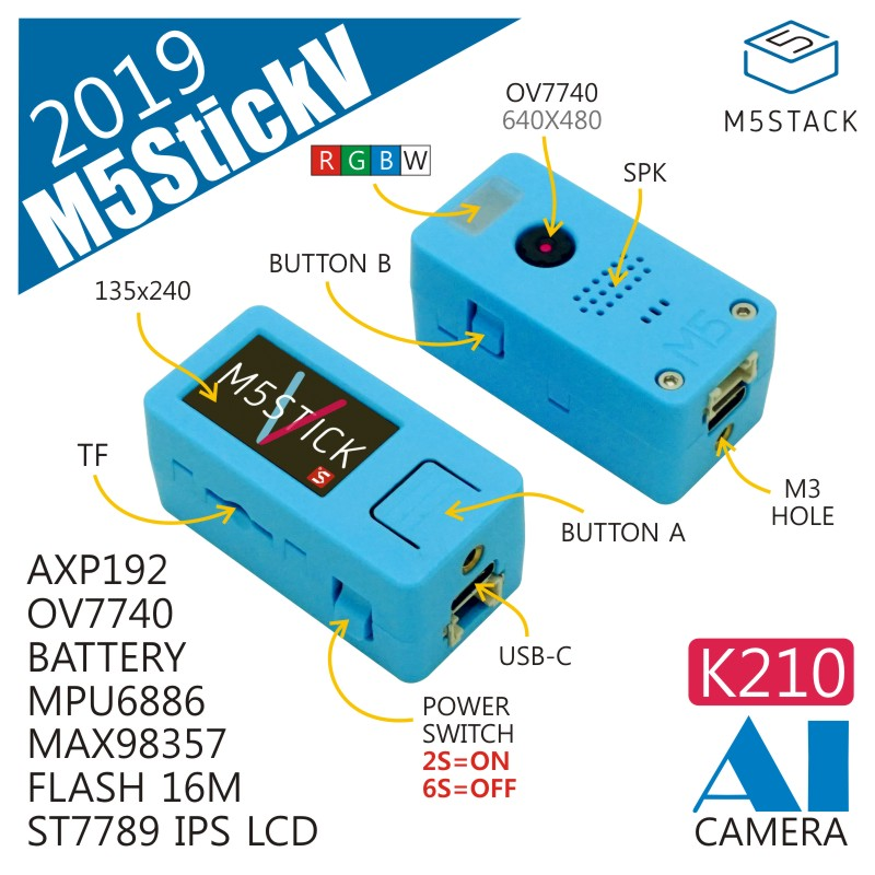 ¡M5Stack nueva llegada! StickV K210 AI Cámara 64 poco RISC-V MPU6886 Chip con 16M Flash ST7789 IPS LCD