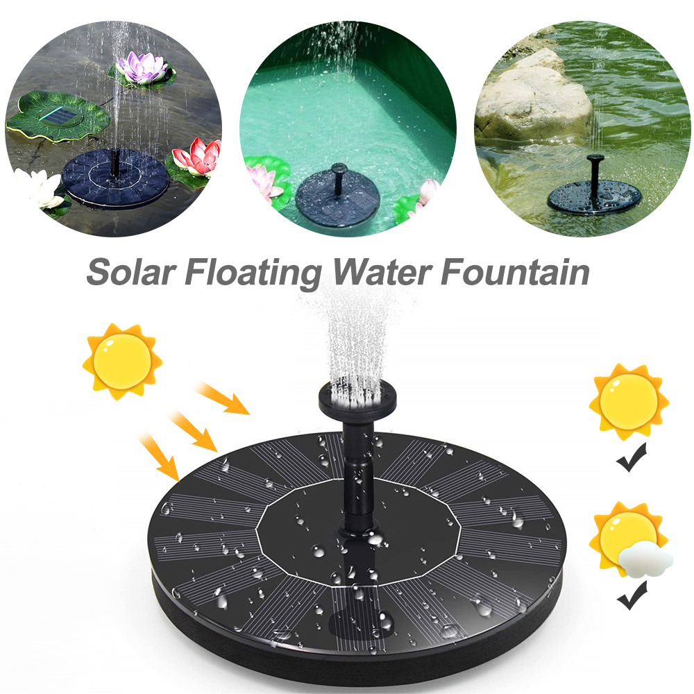 7V Solar Power Fountain Brushless Water  Pump Solar Garden Fountains For Garden Pool Submersible Birdbath Fountain 7 New
