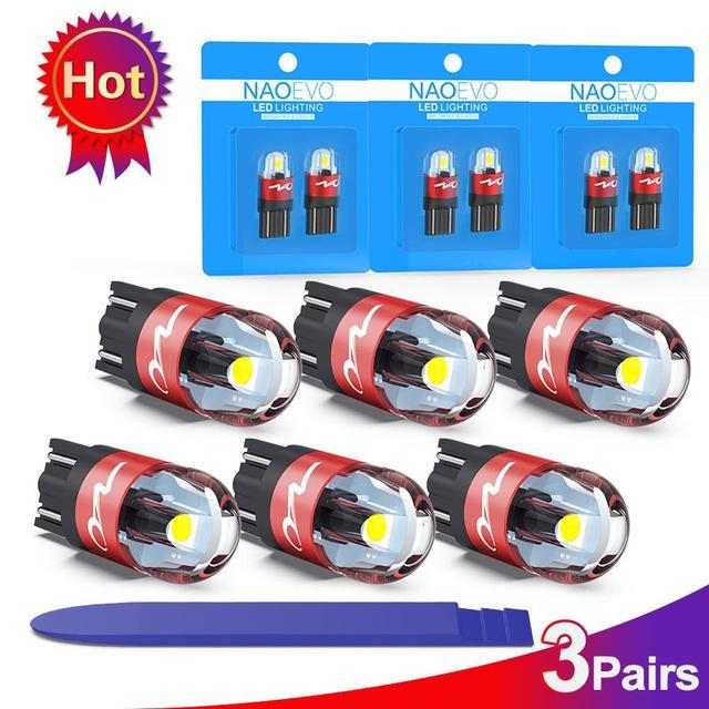 NAO T10 LED W5W Car Bulbs 6pcs 168 194 Turn Signal Auto Clearance Lights 12V License Plate Side Trunk Lamp COB White 3030 SMD