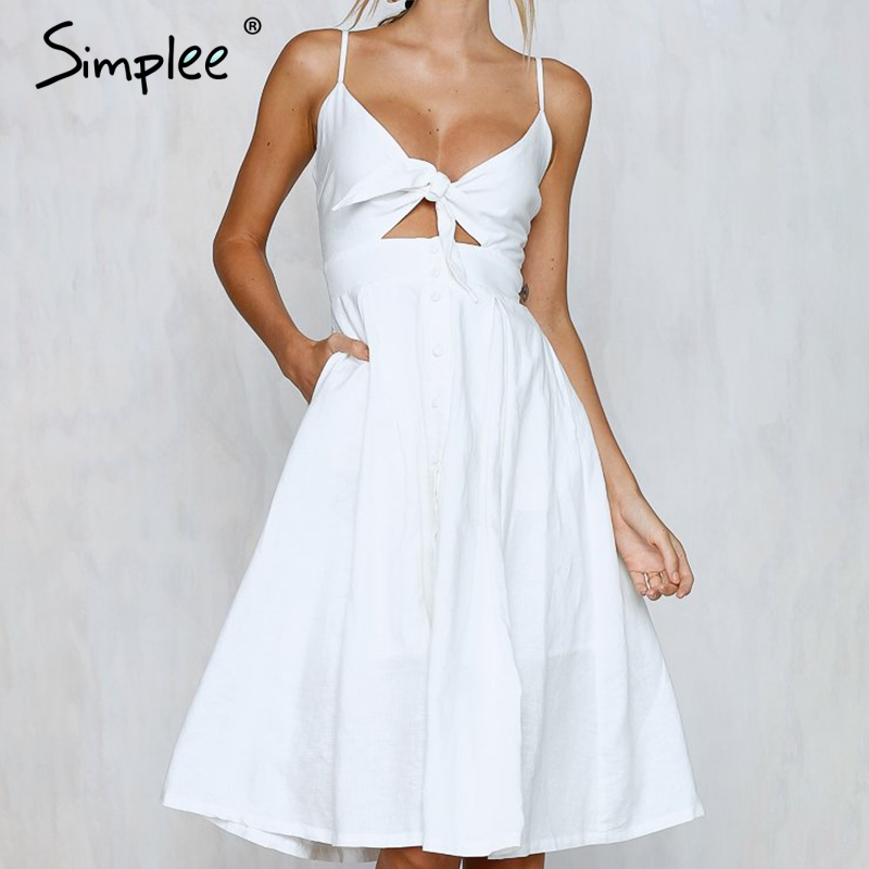 Simplee Hollow Out Bow Midi Dress Women Causal Backless Summer Dress Female Button Strap White Dress 2018 Spring Vestidos