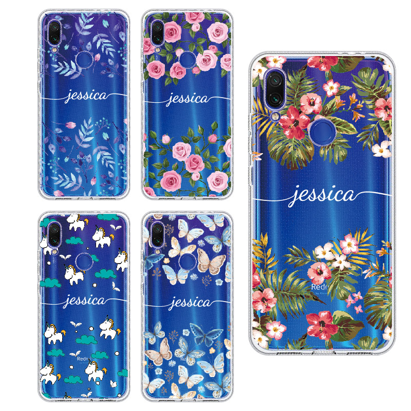 Custom Personalized your Initial Name Flower Phone Case For <font><b>Xiaomi</b></font> Mi <font><b>Redmi</b></font> <font><b>Note</b></font> 5 6 7 8 9 10 lite <font><b>Pro</b></font> Plus Soft TPU Clear Case image