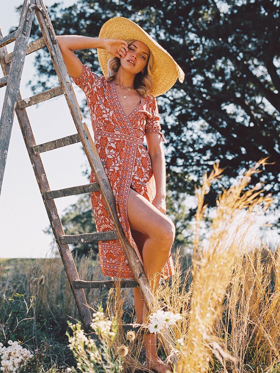 Été femmes robe col en V à manches courtes imprimé Floral ceintures arc Slim taille haute longue robe une ligne Split Vestidos bohème 2019