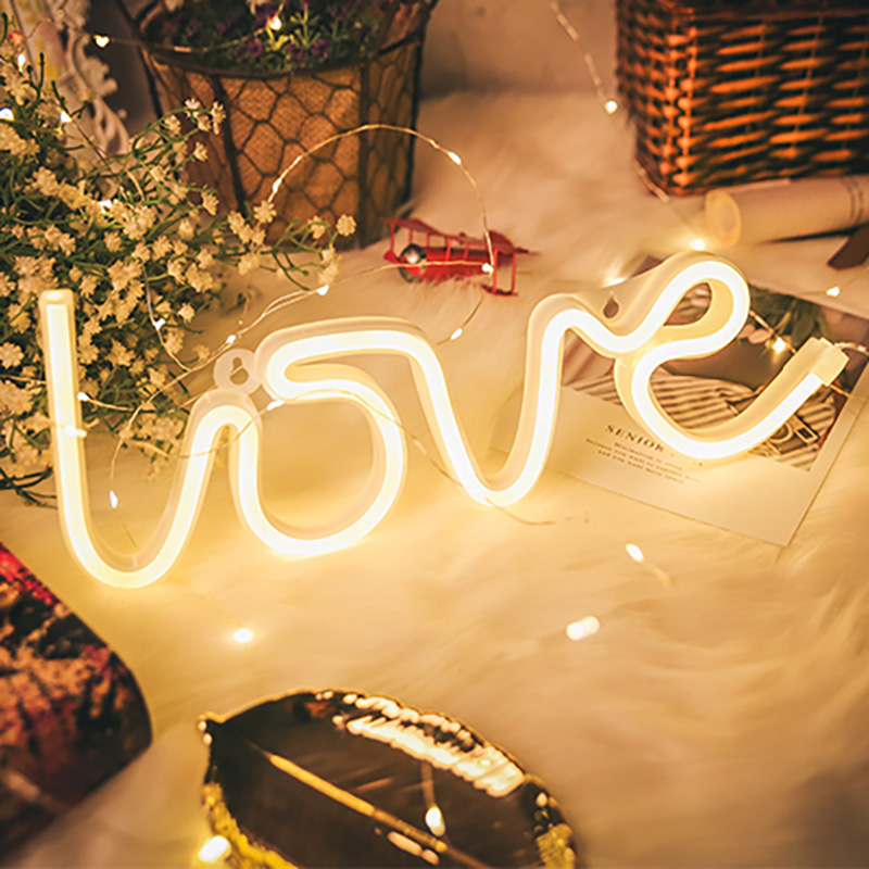 Custom Neon Sign For Room  Wall Rainbow Battery Powered LED Strip Creative LOVE Wedding Decor  Pink For House Rooms Bedroom Car