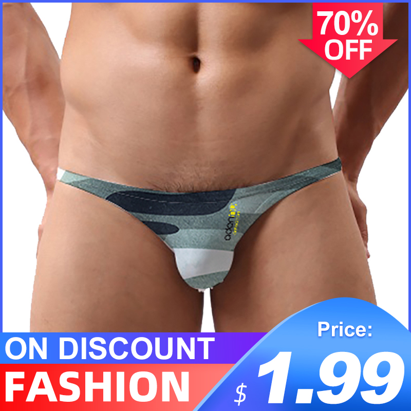 Sissy Panties String Men Lingerie Jockstrap Mens Thongs And G Strings Ins Style Sexy Gay Underwear Men Thong Ice Silk Camouflage