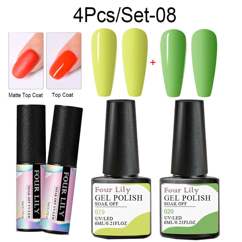 Four Lily Spring Summer Series Gel Nail Polish Set Pure Color Long Lasting UV Gel Varnish Hybrid Soak Off Nail Art Gel Lacquer