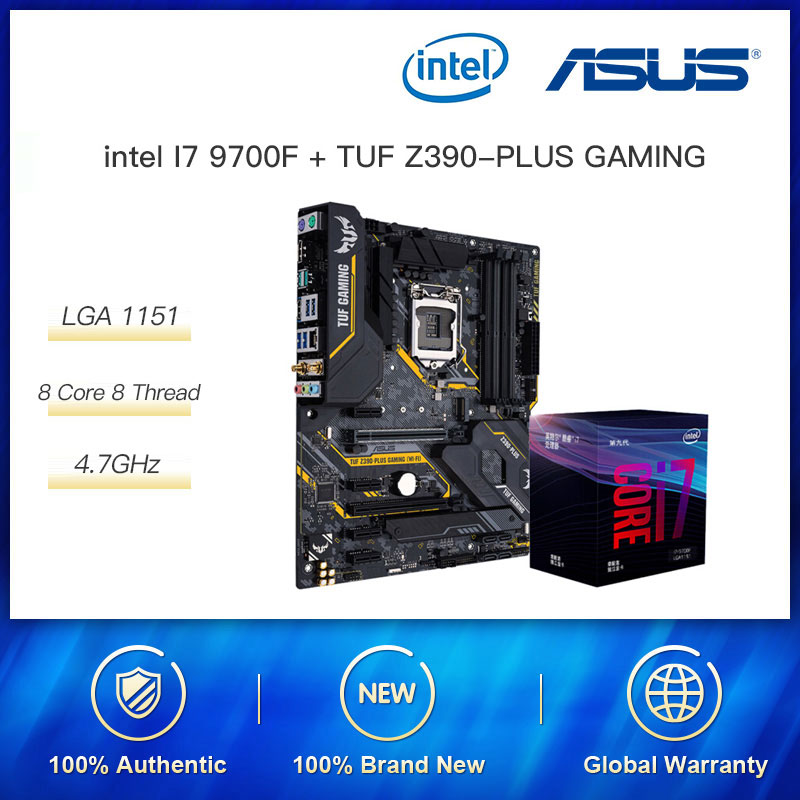 Intel 8 Core i7 9700 i7 9700K i7 9700F 4.9Ghz ASUS TUF Z390-PLUS GAMING DDR4 Gaming Motherboard Cpu Set Support 10500/10400 CPU image