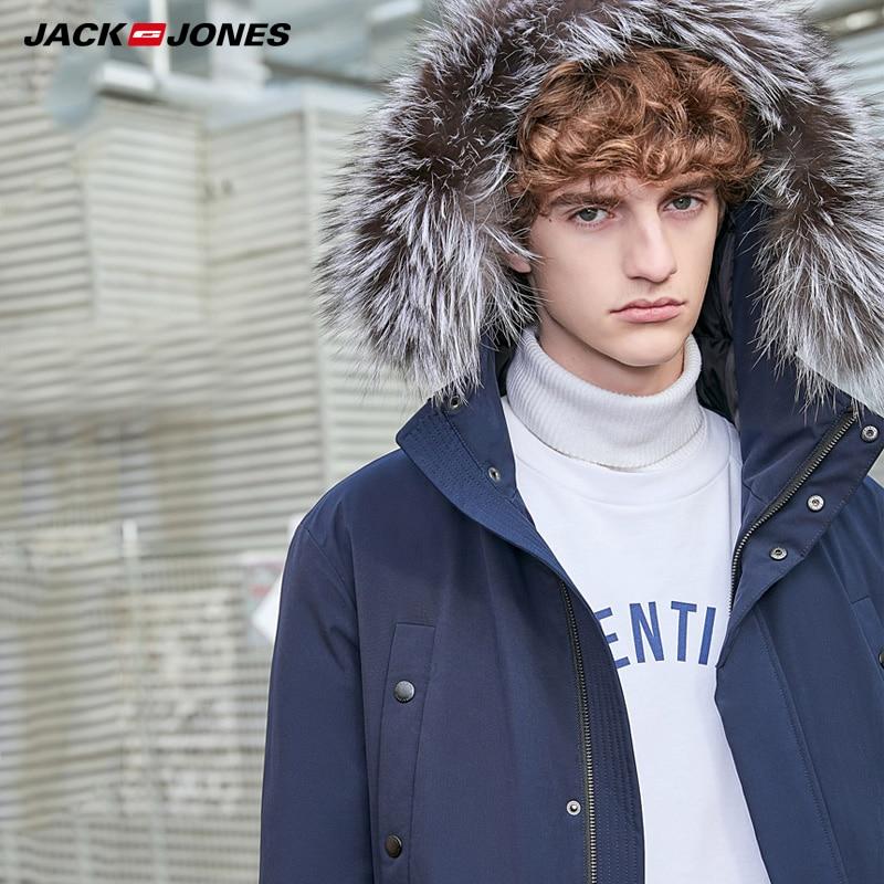 JackJones Men's Mid-length Hooded Fur Collar Down Jacket| 219312509