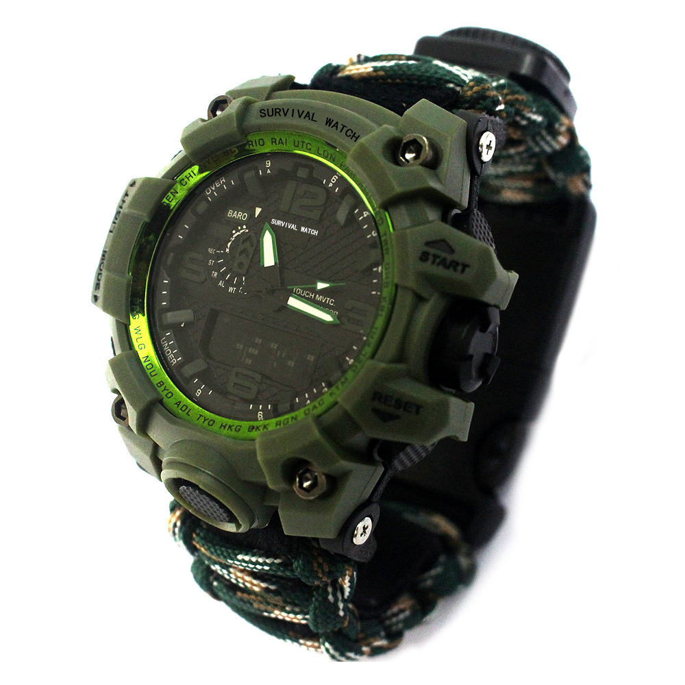 Korean-style Trend Men And Women-Digital Watch Is Multi-functional Umbrella Rope Weaving Electronic Watch Waterproof Defensive W