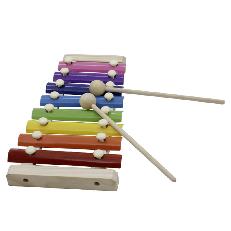 8 Tones Wooden Brain Game Musical Toys Xylophone Rainbow Color Hand Knock Mini Piano Xylophone Musical Instrument