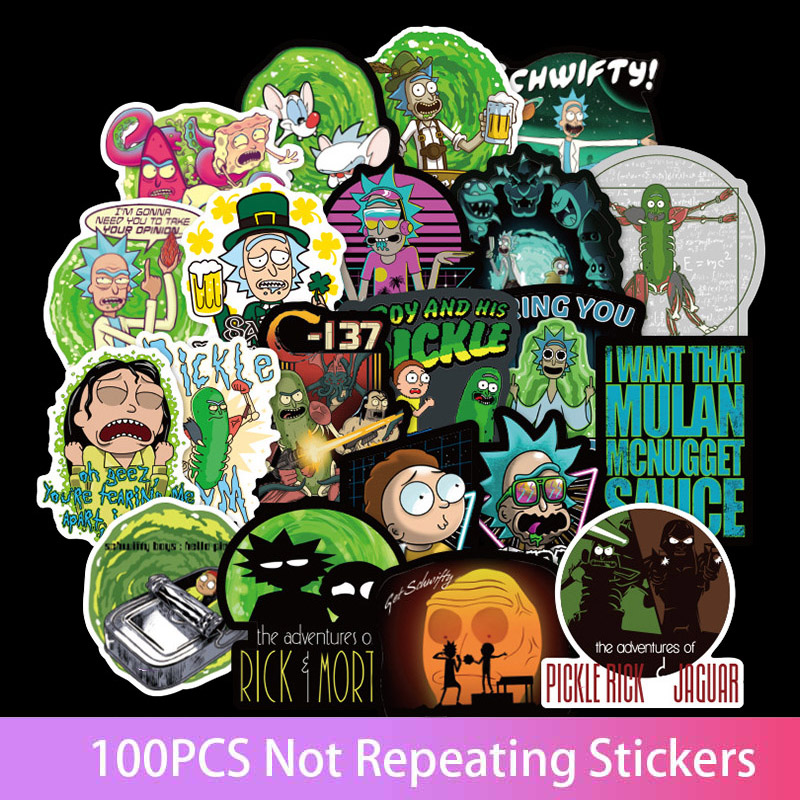 100Pcs US Drama Cucum Rick And Morty Mort Funny Sticker Decal For Car Laptop Motorcycle Notebook Waterproof Stickers
