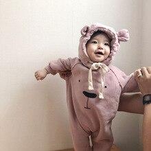 เด็กทารกใหม่Romperหนาและนุ่มหูหมีพิมพ์หลวมJumpsuitชุดปีนเขาเด็กวัยหัดเดินRomperเด็กทารกJumpsuit