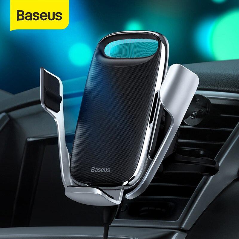 Baseus titular do telefone do carro 15w carregador sem fio para o iphone carga rápida 3.0 ventilação de ar montar titular do carro sem fio de carregamento titular 1