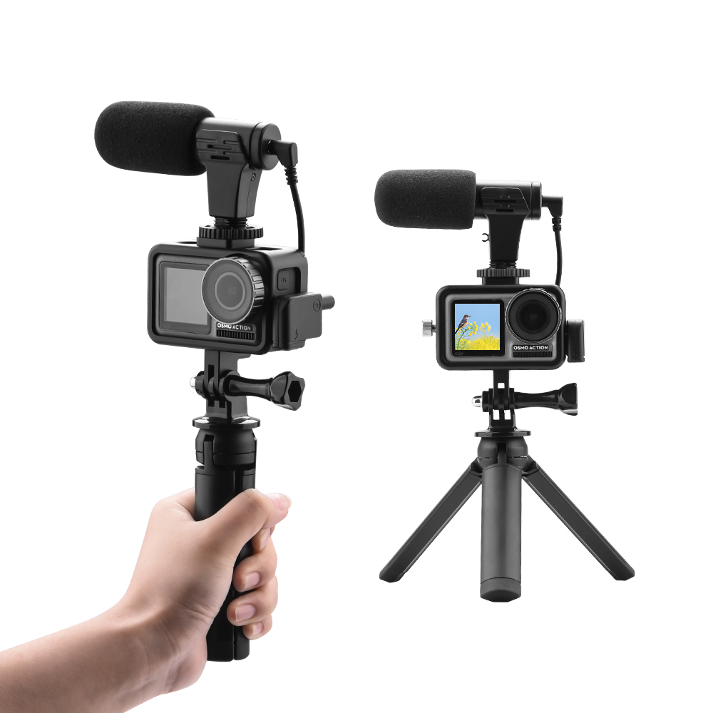 For DJI Osmo Action Microphone Audio Adapter Protective Frame Tripod Extend Selfie Kits For OSMO Action Camera Accessories