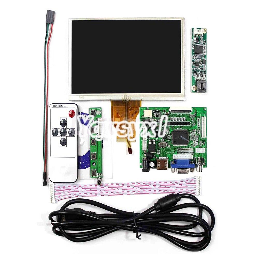 Yqwsyxl 6.5 polegada monitor de tela lcd at065tn14 800*480 placa motorista kit capacitivo da tela de toque hdmi vga 2av para raspberry pi