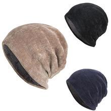 Хит, зимняя уличная Мужская одноцветная Флисовая теплая шапка, мешковатая шапка, уличные аксессуары, толстые хлопковые шапки