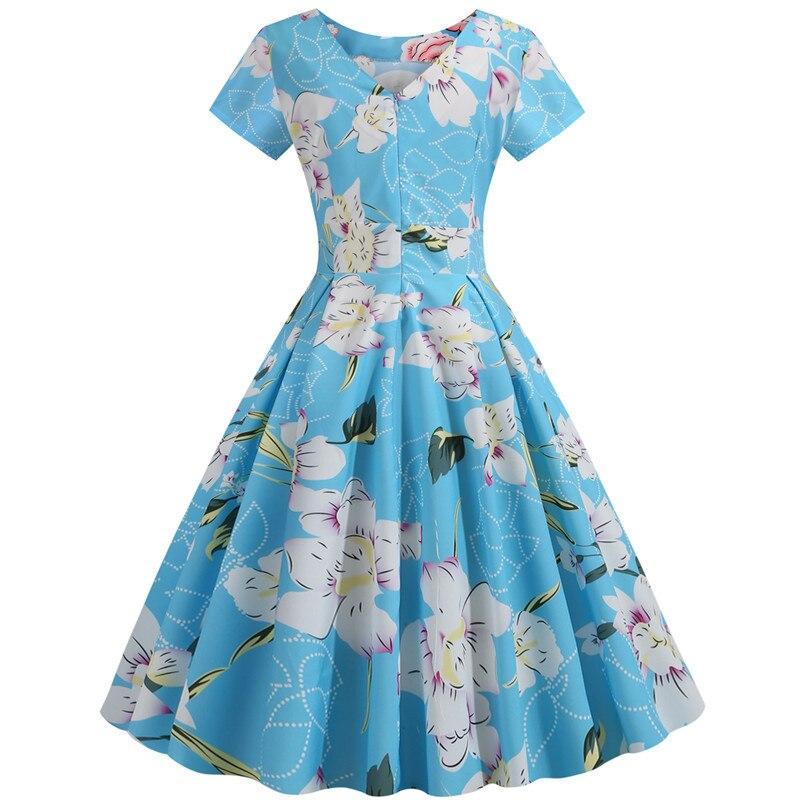 Summer Floral Print Elegant A-line Party Dress Women Slim White Short Sleeve Swing Pin up Vintage Dresses Plus Size Robe Femme 105