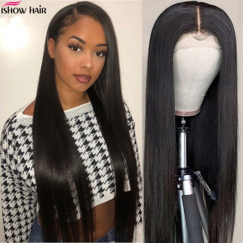 Ishow Hair Straight Lace Frontal Human Hair Wigs 150% Density Indian Human Hair Wigs For Black Women Remy 360 Lace Frontal Wig