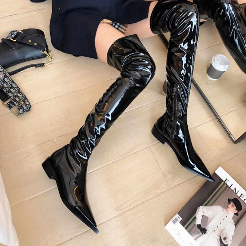 Prova Perfetto Kadın Çizmeler Siyah Diz Çizmeler üzerinde Sivri burun Kayma Seksi Kadın Sonbahar Kış bayanlar Uyluk Yüksek çizmeler 2020