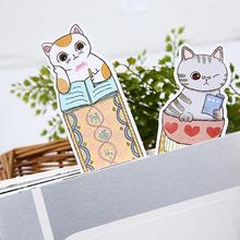 30Pcs/lots Cute Cat Paper Bookmarks  kawaii Cartoon Animals Bookmark for Kids Student Gift School Stationery Film Bookmark 30pcs lot cute kawaii paper bookmark vintage japanese style book marks for kids school materials