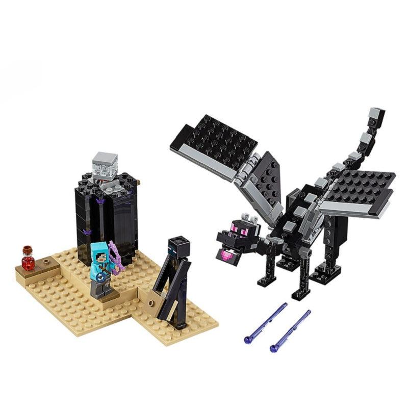 The End Battle Shadow Dragon Building Blocks With Steve Action Figures Compatible LegoINGlys MinecraftINGlys Sets Toys 21151