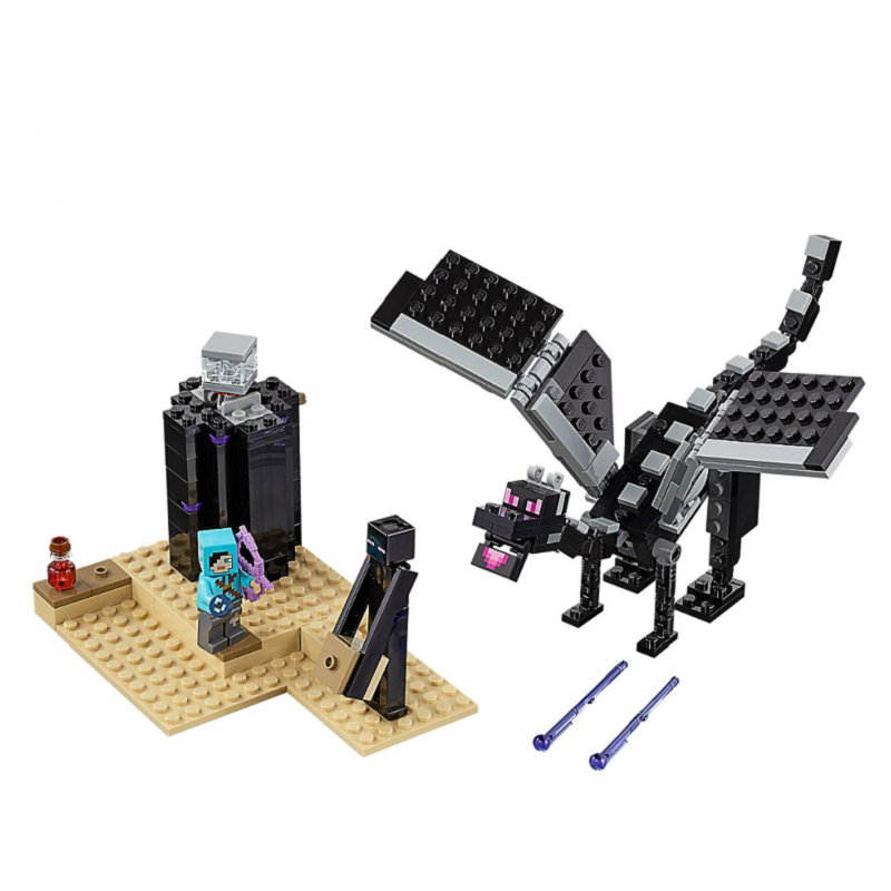 The End Battle Shadow Dragon Building Blocks With Steve Action Figures Compatible Lepining MinecraftINGlys Sets Toys 21151
