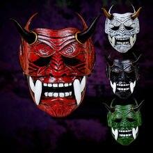 Японская латексная маска самурая на все лицо страшный костюм