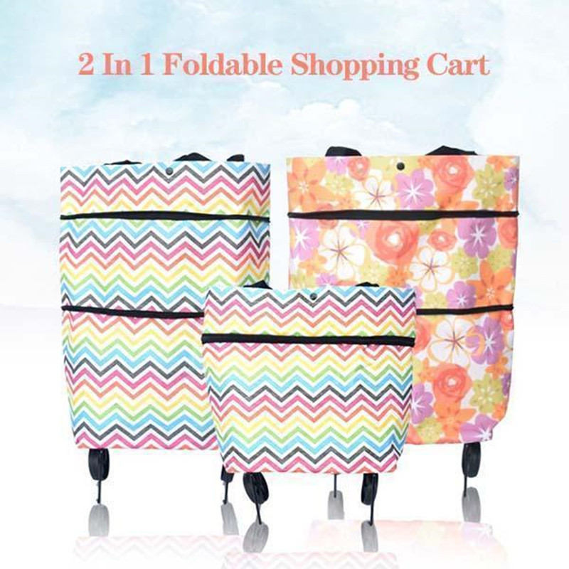 Foldable Shopping Cart 2 In 1 Used As Tote Bag Or Shoulder Bag Light Weight Oxford Cloth Material With Wheels Reusable Grocery