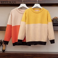 Plus size 4XL 2019 Autumn Knitted Rainbow Sweater Women Harajuku Jumper Striped Pullovers Oversized Sweaters Vintage Knitwear